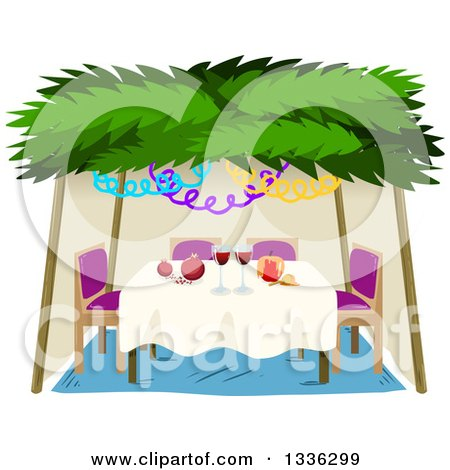 Clipart of a Jewish Sukkah for Sukkot with a Honey Apple, Wine and Pomegranates - Royalty Free Vector Illustration by Liron Peer