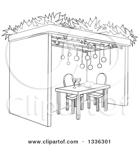 Clipart of a black and white jewish sukkah for sukkot with for Sukkah coloring pages