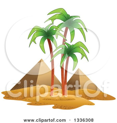 Clipart of the Egyptian Pyramids and Palm Trees - Royalty Free Vector Illustration by Liron Peer