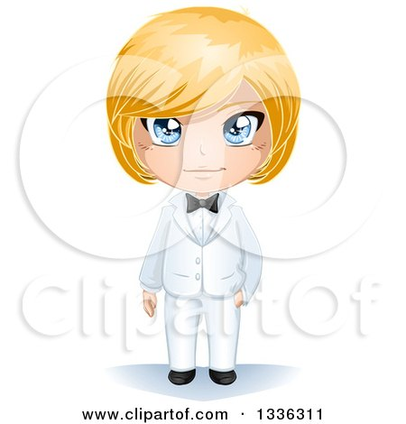 Clipart of a Happy Blue Eyed, Blond Haired Caucasian Groom in a White Tuxedo - Royalty Free Vector Illustration by Liron Peer