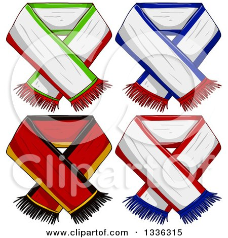 Clipart of Sports Team Scarves - Royalty Free Vector Illustration by Liron Peer
