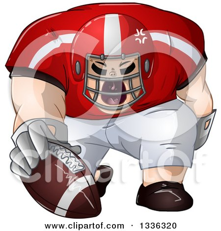 Clipart Of A Cartoon Buff White Male Football Player Kneeling With The Ball Royalty Free Vector Illustration