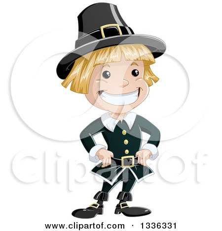 Clipart of a Cartoon Grinning Blond White Pilgrim Boy - Royalty Free Vector Illustration by Liron Peer