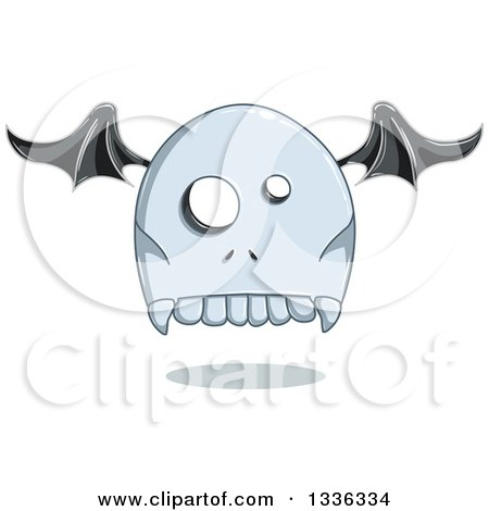 Clipart of a Cartoon Halloween Tombstone Bat Winged Ghost - Royalty Free Vector Illustration by Liron Peer