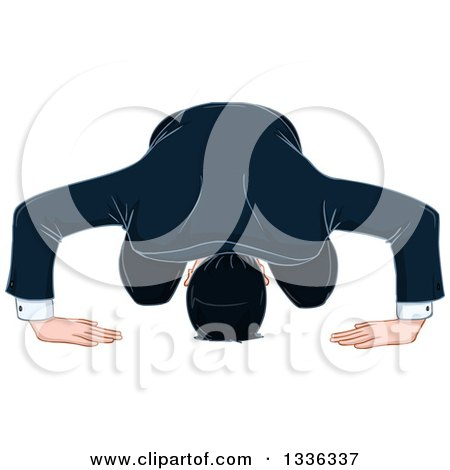 Clipart of a Cartoon White Businessman Bowing and Apologizing - Royalty Free Vector Illustration by Liron Peer
