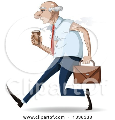Clipart of a Cartoon Caucasian Senior Business Man Speed Walking with a Hot Coffee and Briefcase - Royalty Free Vector Illustration by Liron Peer