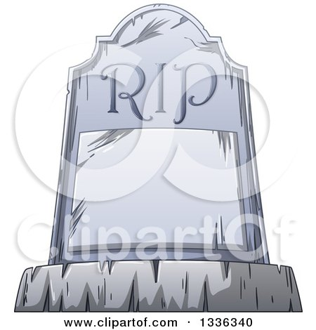 Clipart of a Cartoon Tombstone with a Blank Plaque and RIP - Royalty Free Vector Illustration by Liron Peer