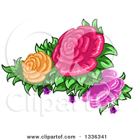 Clipart of Colorful Rose Flowers and Leaves - Royalty Free Vector Illustration by Liron Peer