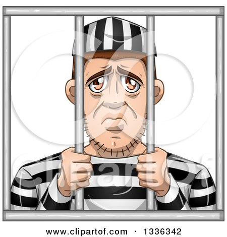 Clipart of a Cartoon White Male Convict Giving a Sad Face Behind Bars - Royalty Free Vector Illustration by Liron Peer