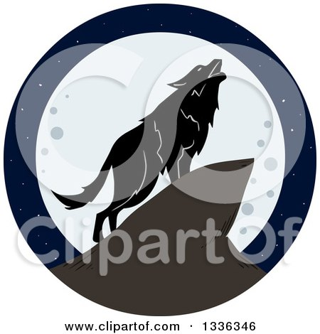 Clipart of a Lone Wolf Howling Against a Full Moon - Royalty Free Vector Illustration by Liron Peer