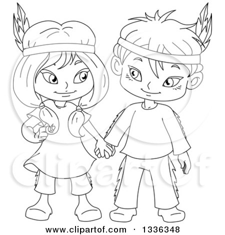 Clipart of Cartoon Black and White Native American Indian Children Holding Hands - Royalty Free Vector Illustration by Liron Peer
