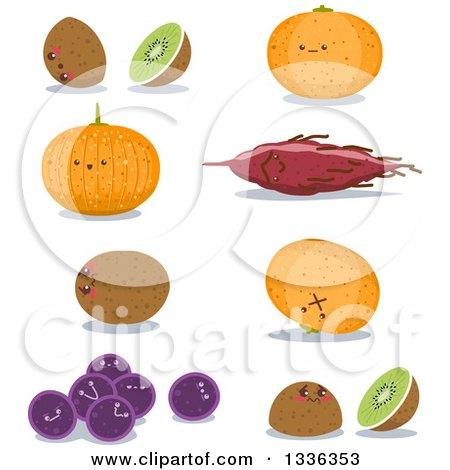 Clipart of Kiwi, Sweet Potato, Potato, Orange and Grapes Characters - Royalty Free Vector Illustration by Liron Peer