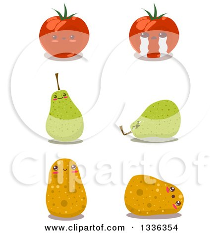 Clipart of Happy and Sad Tomato, Pear and Potato Characters - Royalty Free Vector Illustration by Liron Peer