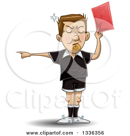 Clipart of a Cartoon White Male Soccer Referee Blowing a Whistle, Pointing and Holding a Red Card - Royalty Free Vector Illustration by Liron Peer