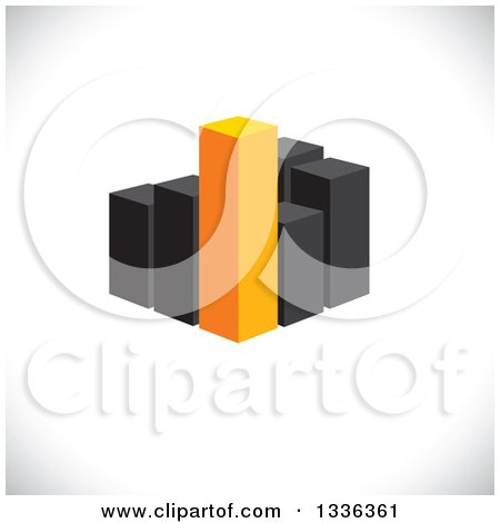 Clipart of a 3d Block of Orange and Black City Skyscraper Highrise Buildings, or a Bar Graph over Shading - Royalty Free Vector Illustration by ColorMagic