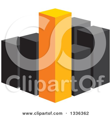 Clipart of a 3d Block of Orange and Black City Skyscraper Highrise Buildings, or a Bar Graph - Royalty Free Vector Illustration by ColorMagic