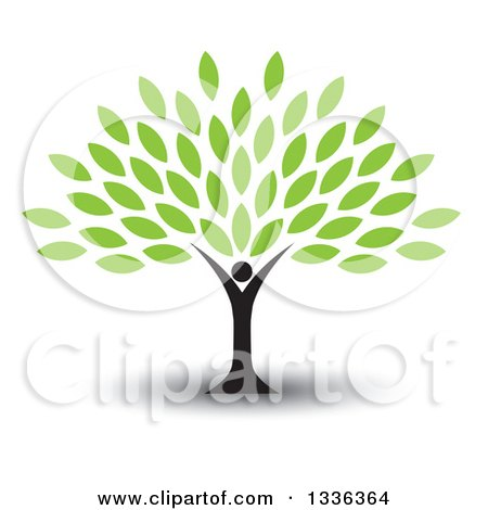 Clipart of a Black Silhouetted Man Forming the Trunk of a Tree with Green Leaves, with a Shadow - Royalty Free Vector Illustration by ColorMagic