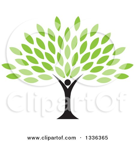 Clipart of a Black Silhouetted Man Forming the Trunk of a Tree with Green Leaves - Royalty Free Vector Illustration by ColorMagic