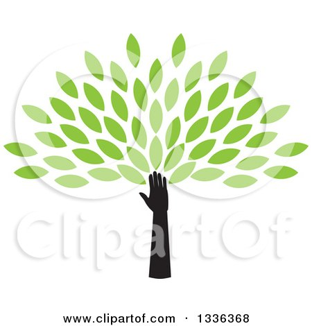Clipart of a Silhouetted Hand and Arm Forming the Trunk of a Tree with Green Spring Leaves - Royalty Free Vector Illustration by ColorMagic