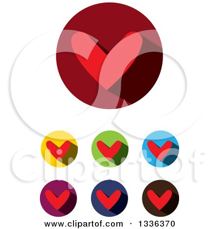 Clipart of Flat Design Red Hearts and Shadows in Circles Icons - Royalty Free Vector Illustration by ColorMagic