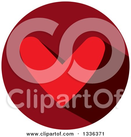 Clipart of a Flat Design Red Heart and Shadow in a Circle Icon - Royalty Free Vector Illustration by ColorMagic