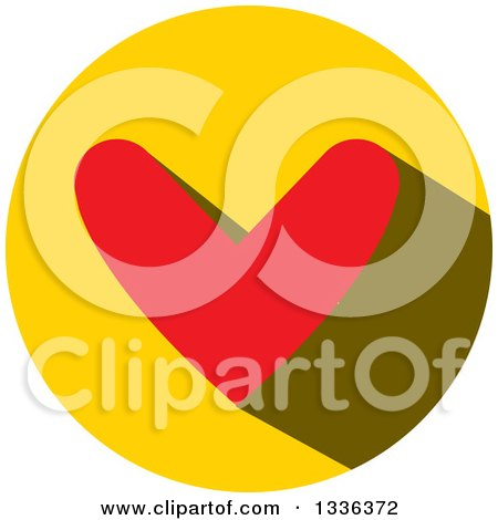 Clipart of a Flat Design Red Heart and Shadow in a Yellow Circle Icon - Royalty Free Vector Illustration by ColorMagic