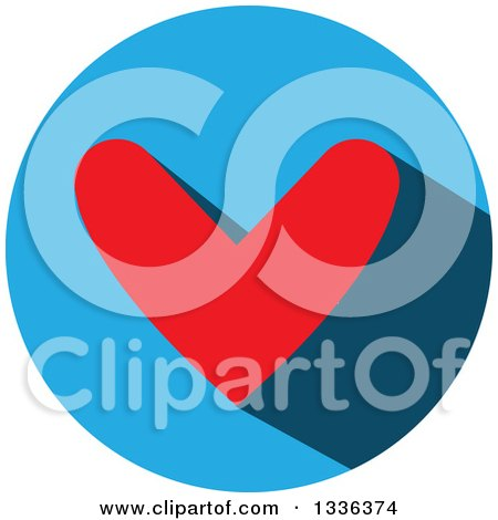 Clipart of a Flat Design Red Heart and Shadow in a Blue Circle Icon - Royalty Free Vector Illustration by ColorMagic