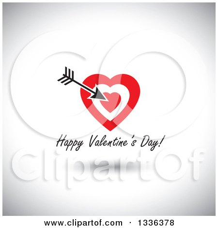 Clipart of Flat Design Red Hearts with Cupids Arrow over Happy Valentines Day Text and a Shadow on Shading - Royalty Free Vector Illustration by ColorMagic