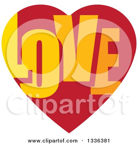 Clipart of a Flat Design Red Heart with LOVE Text Inside - Royalty Free Vector Illustration by ColorMagic