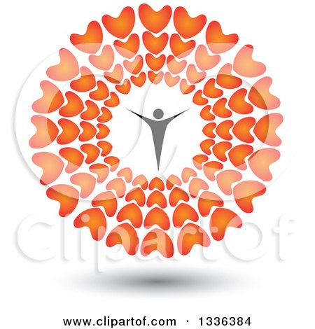 Clipart of a Flat Design Person, a Polygamist, Father or Patriarch, Inside a Circle of Red Hearts with a Shadow - Royalty Free Vector Illustration by ColorMagic