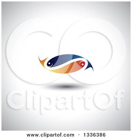 Clipart of a Blue and Orange Pair of Faith or Pisces Fish in the Shape of an Infinity Symbol over Shading - Royalty Free Vector Illustration by ColorMagic