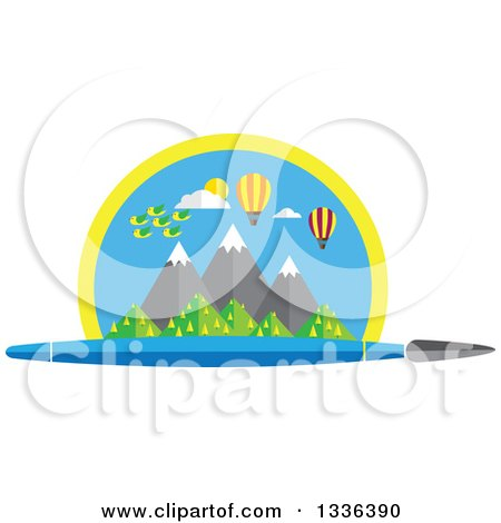Clipart of a Flat Design Paintbrush Under a Scene of Mountains, Birds and Hot Air Balloons - Royalty Free Vector Illustration by ColorMagic