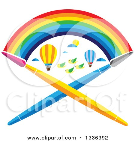 Clipart of a Flat Design Rainbow over Hot Air Balloons, Birds and Crossed Paint Brushes - Royalty Free Vector Illustration by ColorMagic