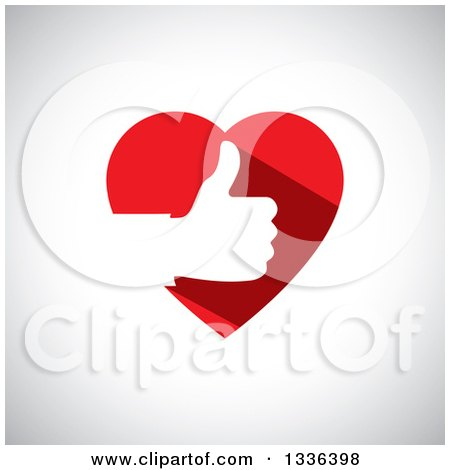 Clipart of a Flat Design White Silhouetted Thumb up Hand in a Red Heart over Shading - Royalty Free Vector Illustration by ColorMagic