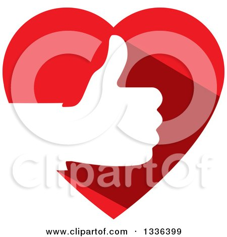Clipart of a Flat Design White Silhouetted Thumb up Hand in a Red Heart - Royalty Free Vector Illustration by ColorMagic