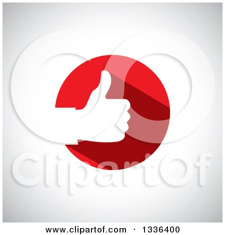 Clipart of a Flat Design White Silhouetted Thumb up Hand in a Red Circle over Shading - Royalty Free Vector Illustration by ColorMagic