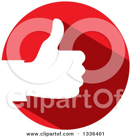 Clipart of a Flat Design White Silhouetted Thumb up Hand in a Red Circle - Royalty Free Vector Illustration by ColorMagic