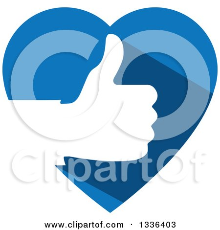 Clipart of a Flat Design White Silhouetted Thumb up Hand in a Blue Heart - Royalty Free Vector Illustration by ColorMagic