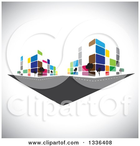 Clipart of a City Street with Colorful Urban Buildings over Shading - Royalty Free Vector Illustration by ColorMagic