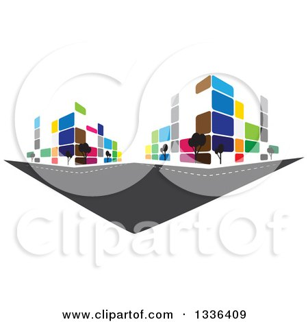 Clipart of a City Street with Colorful Urban Buildings - Royalty Free Vector Illustration by ColorMagic