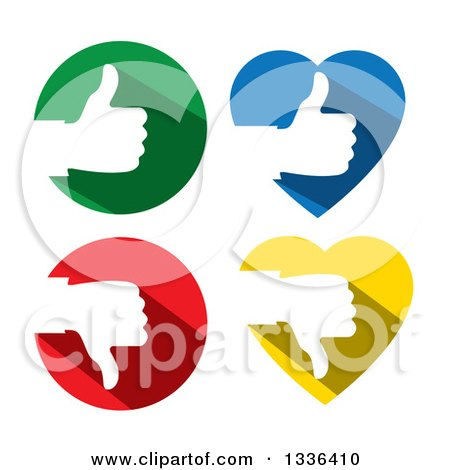 Clipart of Flat Design White Silhouetted Thumb up and down Hands in Colorful Hearts and Circles - Royalty Free Vector Illustration by ColorMagic