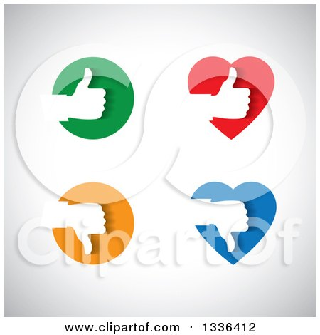 Clipart of Flat Design White Silhouetted Thumb up and down Hands in Colorful Hearts and Circles over Shading - Royalty Free Vector Illustration by ColorMagic