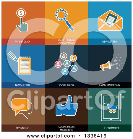 Clipart of Flat Style Social Media and Seo Icons - Royalty Free Vector Illustration by ColorMagic