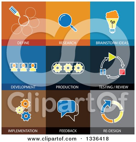 Clipart of Flat Style Software Engineering Icons - Royalty Free Vector Illustration by ColorMagic