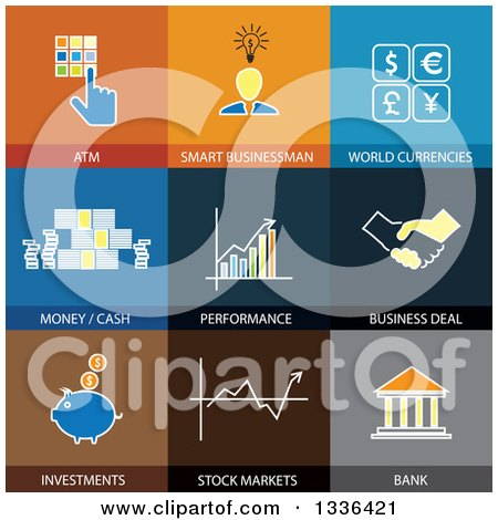 Clipart of Flat Style Finance Icons - Royalty Free Vector Illustration by ColorMagic