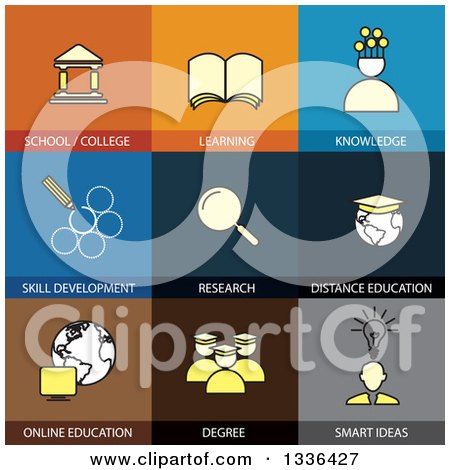Clipart of Flat Style School and Education Icons - Royalty Free Vector Illustration by ColorMagic