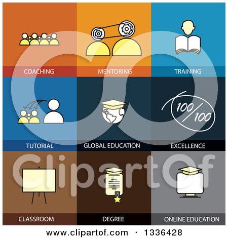 Clipart of Flat Style Training and Education Icons - Royalty Free Vector Illustration by ColorMagic