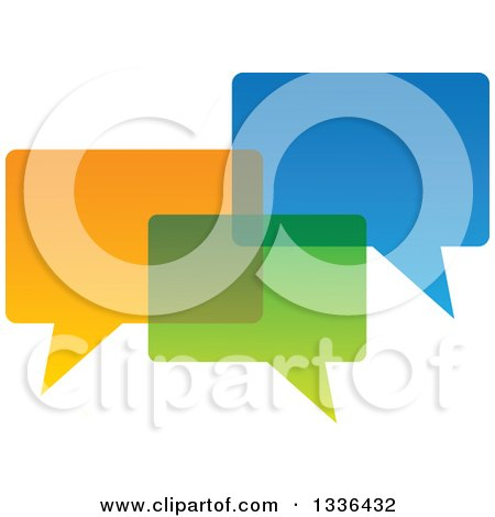 Clipart of Three Colorful Speech Chat Balloons Overlapping - Royalty Free Vector Illustration by ColorMagic