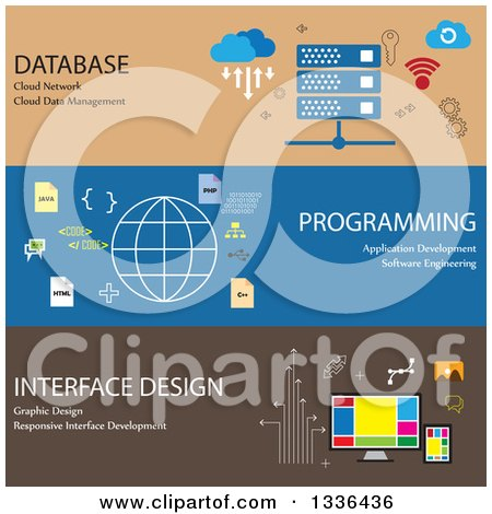 Clipart of Flat Style Database, Programming and Interface Design Online Business Icon Banners - Royalty Free Vector Illustration by ColorMagic