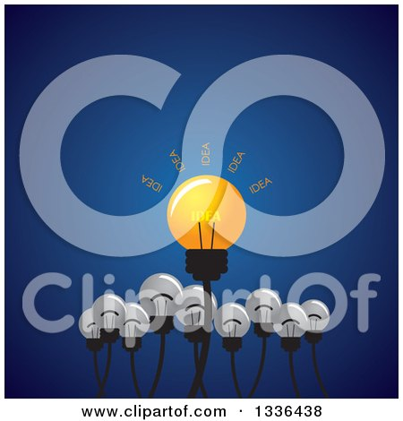 Clipart of a Shining Idea Light Bulb with Plain Ones Below over Blue - Royalty Free Vector Illustration by ColorMagic